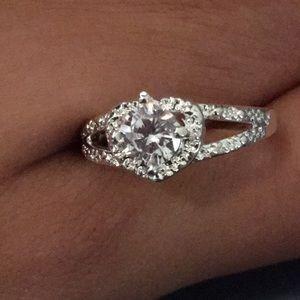 Heart Shaped Lab Generated Womens Diamond Ring